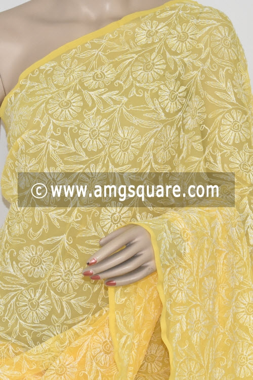 Yellow Allover Tepchi Work Hand Embroidered Lucknowi Chikankari Saree (With Blouse - Georgette) 14829