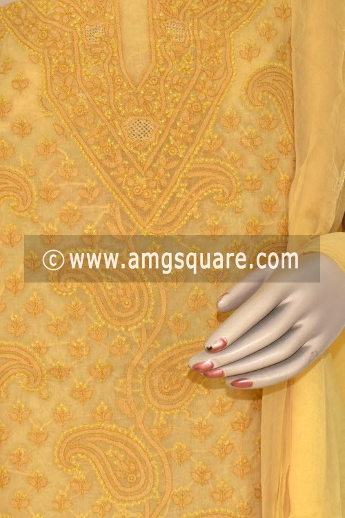 Mustared Yellow Un-Stitched Hand-Embroidered Lucknowi Chikankari Salwar Kameez (Cotton) 17874