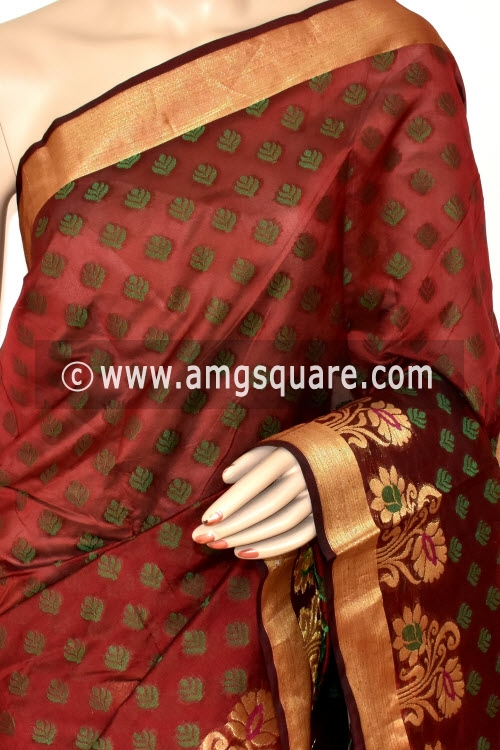 Maroon Handloom Banarasi Semi Cotton Saree (with Blouse) Allover Resham Weaving 16221