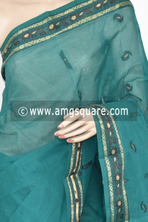 Sea Green Handwoven Bengal Tant Cotton Saree (Without Blouse) 17375