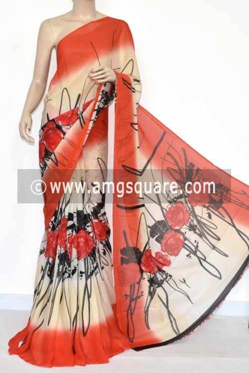 Orange Printed Wrinkle Georgette Saree (With Blouse) 13434
