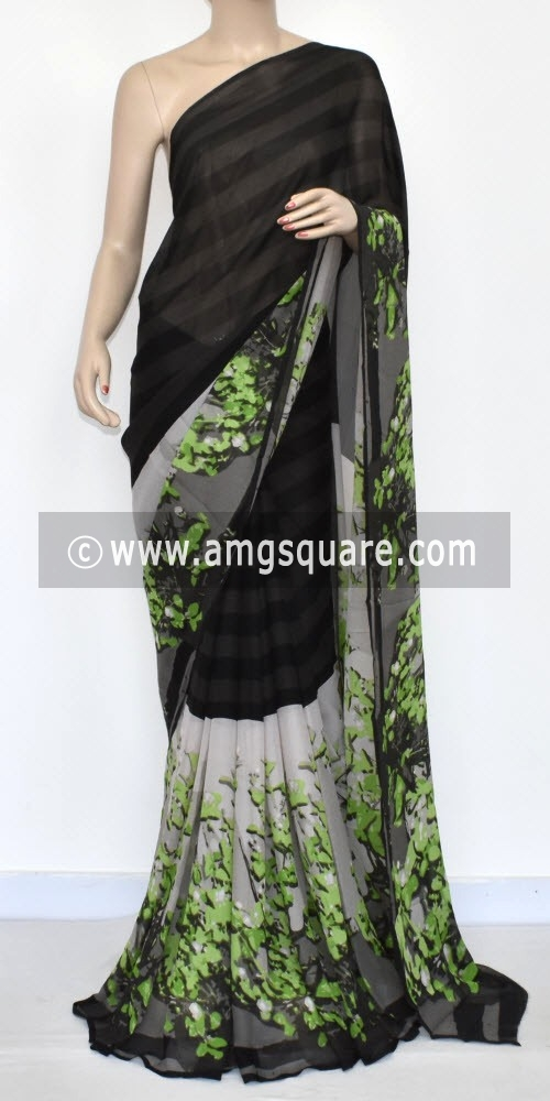 Black Grey Printed Wrinkle Georgette Saree (With Blouse) 13431