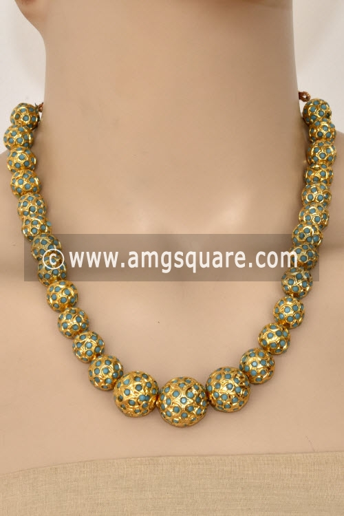 Pista Green Designer Kantha Necklace Set (Without Earrings) 12756