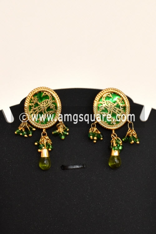 Green Traditional Thewa Pendant Set 11245