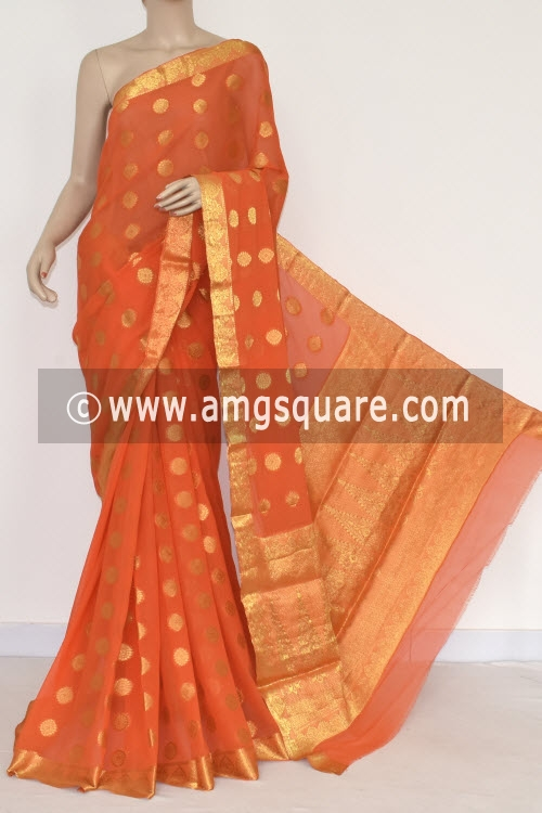 Orange Handloom Semi-Chiffon Saree (with Blouse) Allover Zari Border and Booti 16198