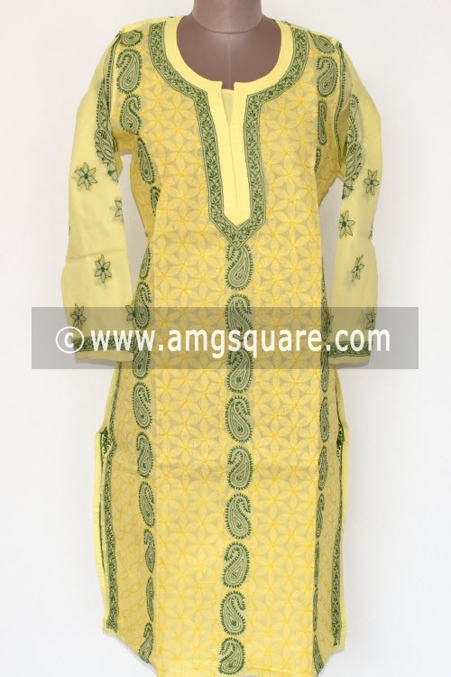 Lemon Yellow Hand Embroidered Lucknowi Chikankari Long Kurti (Cotton) Bust-44 inch 17889