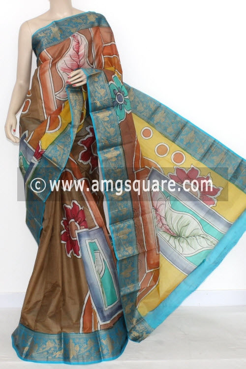 Copper Color Designer Handprinted Double Knitted Bishnupuri Pure Silk Saree (With Blouse) Baluchari Border 16150