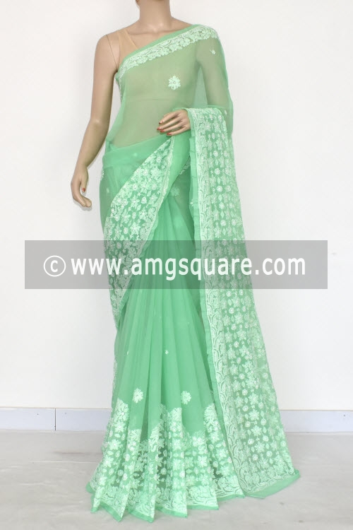Pista Green Designer Hand Embroidered Lucknowi Chikankari Saree (With Blouse - Georgette) 14597