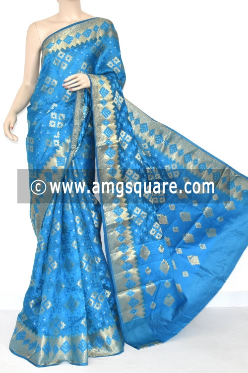 Pherozi Blue Handloom Banarasi Kora Saree (with Blouse) Allover Zari Weaving 16178