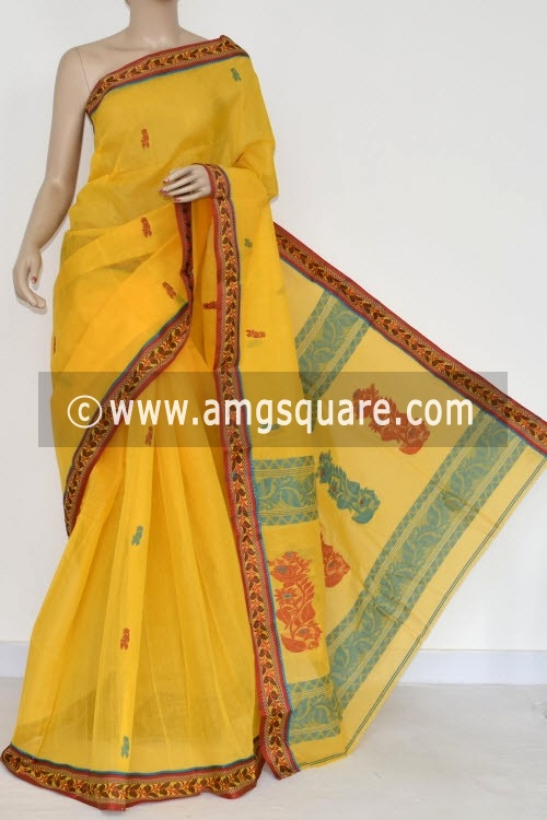 Yellow Handwoven Bengali Tant Cotton Saree (Without Blouse) 17096