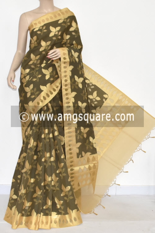 Fawn Grey Allover Golden Booti Banarasi Kora Cot-Silk Handloom Saree (With Blouse) Zari Border 16128