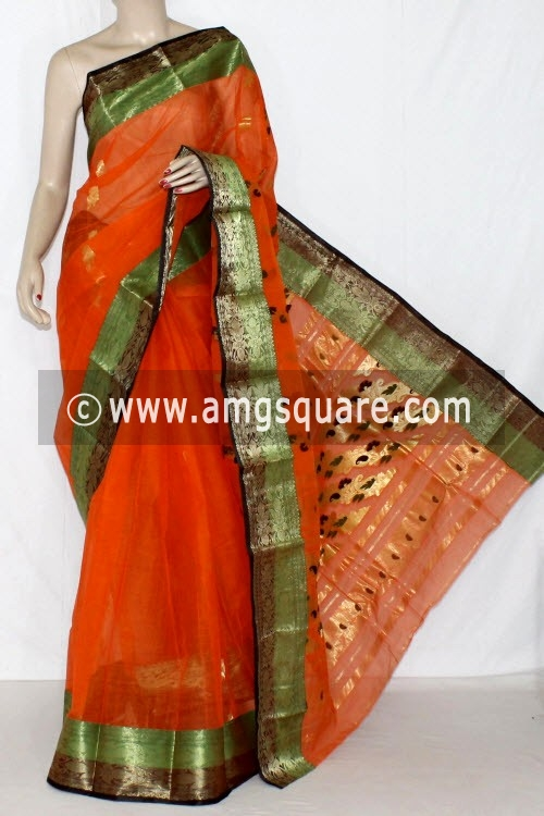Orange Handwoven Bengal Tant Cotton Saree (Without Blouse) Zari Border 14198