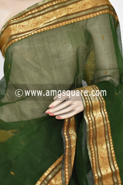 Bottle Green Handwoven Bengal Tant Cotton Saree (Without Blouse) Zari Border 17377