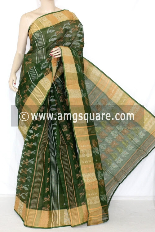 Bottle Green Handwoven Bengal Jamdani Tant Cotton Saree (Without Blouse) 14287