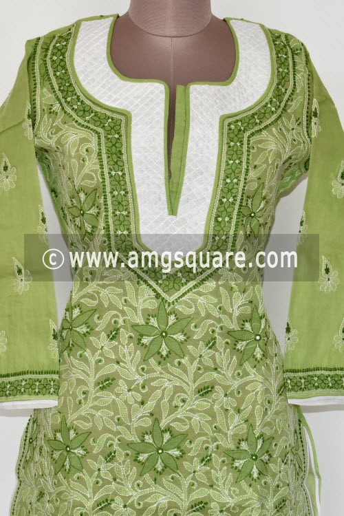 Pista Green Hand Embroidered Lucknowi Chikankari Long Kurti (Cotton) Bust-42 inch 17891