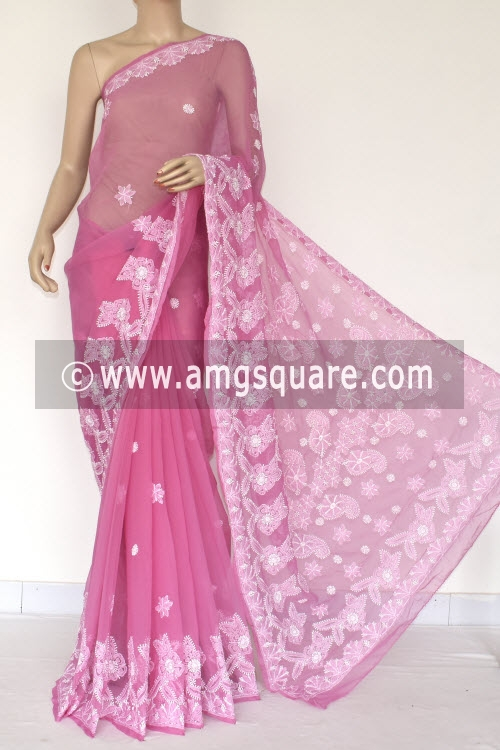 Onion Hand Embroidered Lucknowi Chikankari Saree (With Blouse - Georgette) 14420