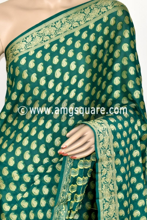 Green Banarasi Handloom Khaddi Georgette Saree (With Blouse) Allover Resham Weaving 16167