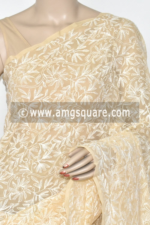 Light Beige Hand Embroidered Allover Tepchi Work Lucknowi Chikankari Saree (Georgette) 14879