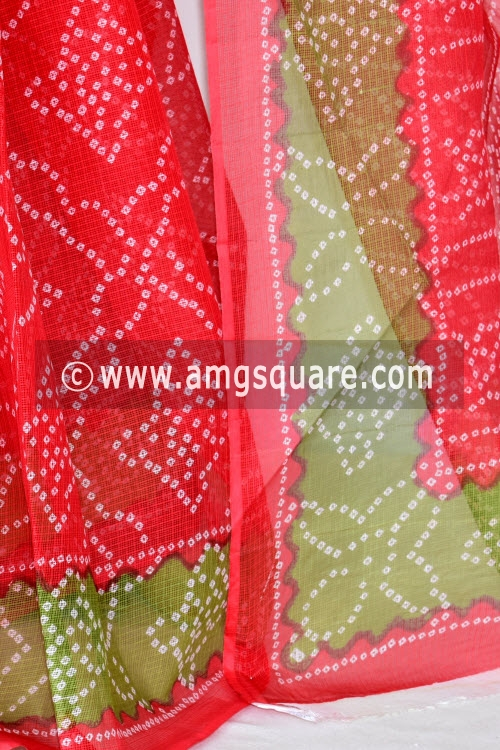 Tomato Red Premium JP Kota Doria Chunri Print Cotton Saree (without Blouse) 15431
