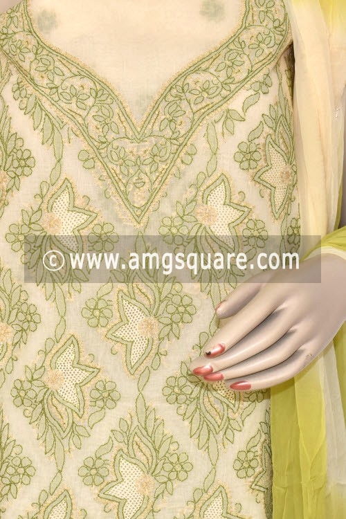 Menhdi Green Un-Stitched Hand-Embroidered Lucknowi Chikankari Salwar Kameez (Cotton) 17875
