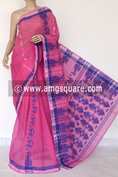 Pink Handwoven Bengal Tant Cotton Saree (Without Blouse) 14081