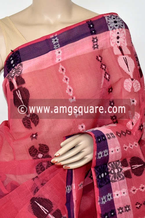 Dark Peach Handwoven Bengal Tant Cotton Saree (Without Blouse) 14078