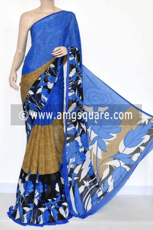 fc52d1cafe Latest Trending Products. Blue Printed Wrinkle Georgette Saree ...