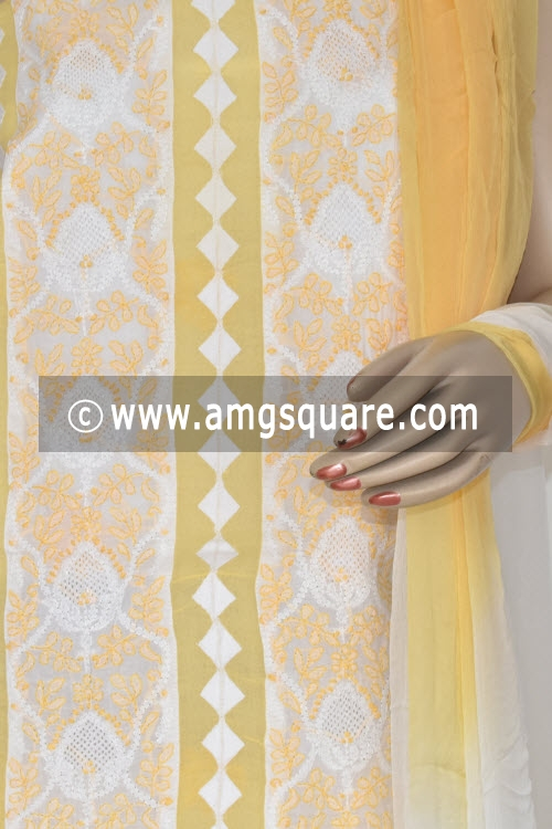 Golden Yellow Un-stitched Hand-embroidered Lucknowi Chikankari Salwar Kameez (Cotton) 17861