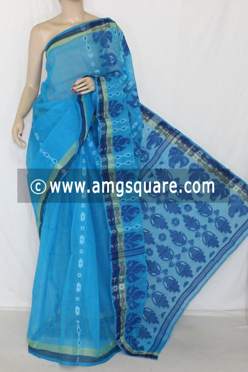 Pherozi Blue Handwoven Bengal Tant Cotton Saree (Without Blouse) 14084