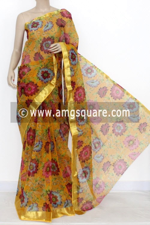 Yellow JP Kota Doria Printed Cotton Saree (without Blouse) Zari Border 13554