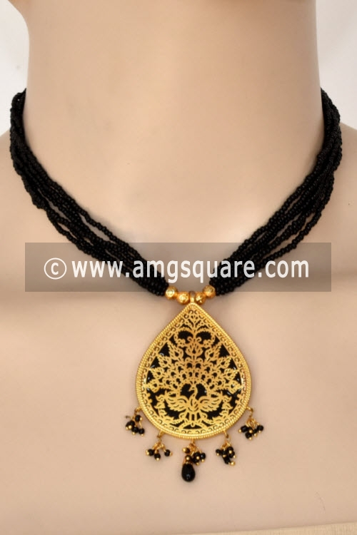 Black Traditional Thewa Pendant Set 11270