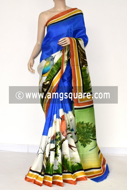 Royal Blue Hand-printed Pure Silk Saree (With Blouse) 17278