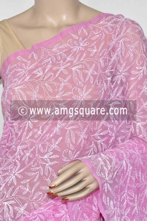 Onion Hand Embroidered Allover Tepchi Work Lucknowi Chikankari Saree (Georgette) 14882