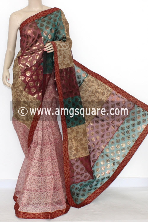 Red Designer Supernet Embroidered Saree (With Blouse) Half-Half 16161