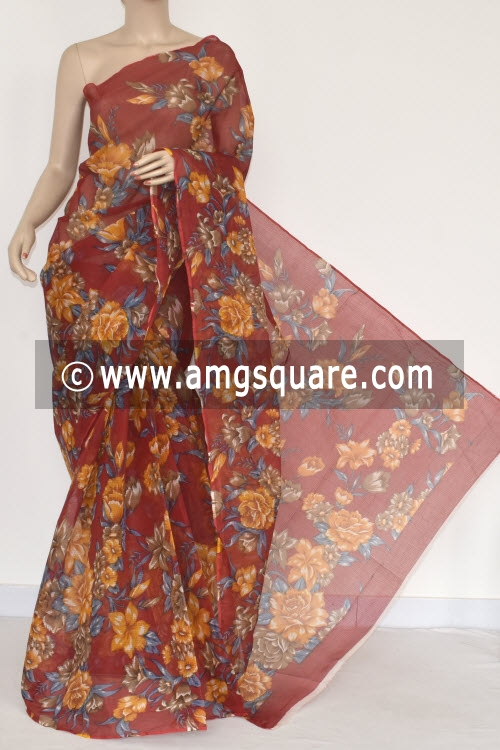 Red Premium JP Kota Doria Floral Print Cotton Saree (without Blouse) 15369