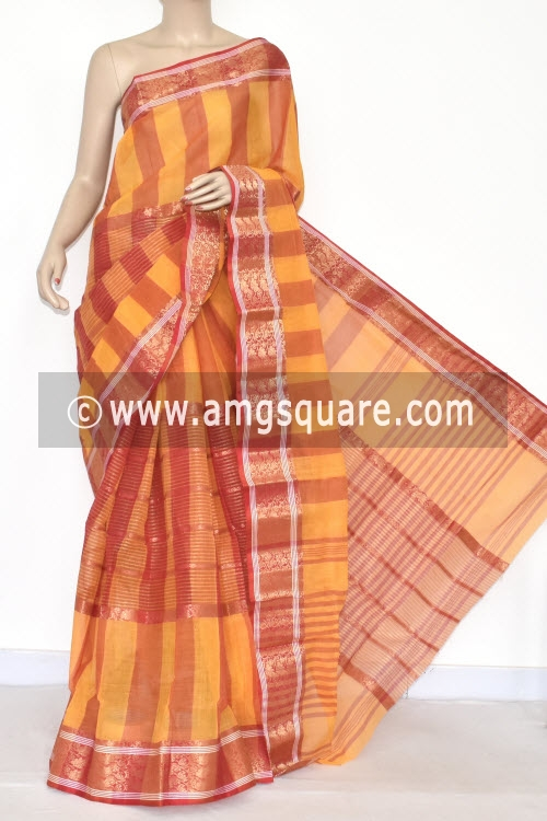 Yellow Red Handwoven Bengal Tant Cotton Saree (Without Blouse) Zari Border 17351