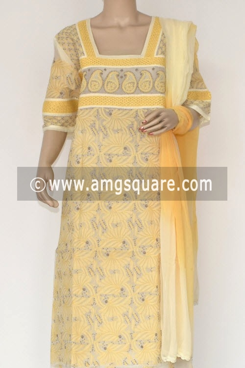 Yellow Un-Stitched Hand-Embroidered Lucknowi Chikankari Salwar Kameez (Cotton) 17870