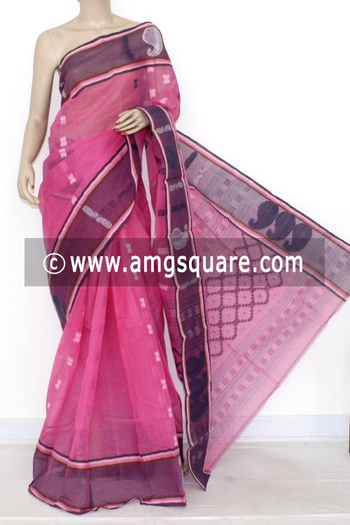 Pink Grey Handwoven Bengal Tant Cotton Saree (Without Blouse) 14119