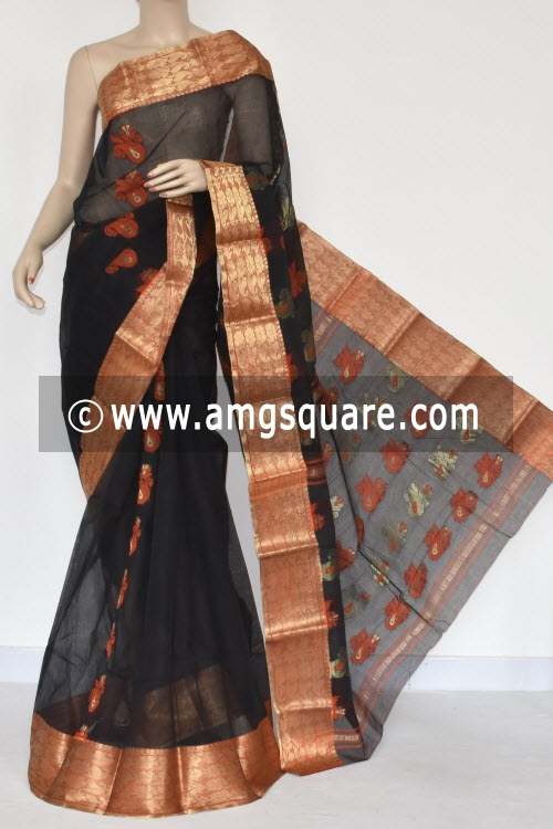 Black Golden Zari Border Handwoven Bengal Tant Cotton Saree (Without Blouse) 17383