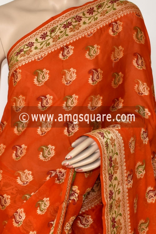 Orange Banarasi Handloom Khaddi Georgette Saree (With Blouse) Allover Resham Weaving 16170