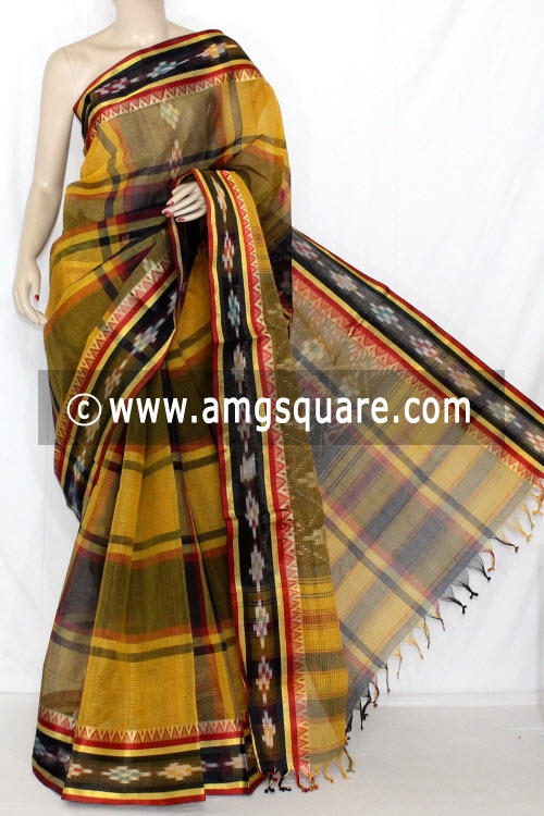 Mustared Yellow Dhaniakhali Handwoven Bengali Tant Cotton Saree (Without Blouse) Kotki Border 13941