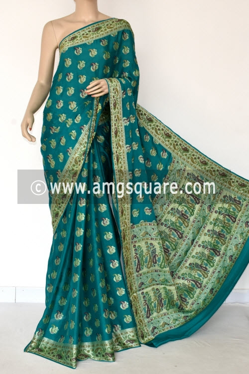 Sea Green Banarasi Handloom Khaddi Georgette Saree (With Blouse) Allover Resham Weaving 16171