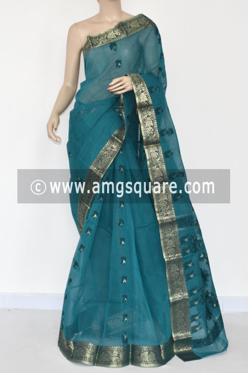Sea Green Handwoven Bengal Tant Cotton Saree (Without Blouse) Zari Border 17381