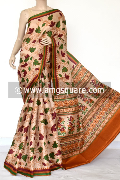 Rust Tusser Art Silk Printed Saree (With Blouse) 13448