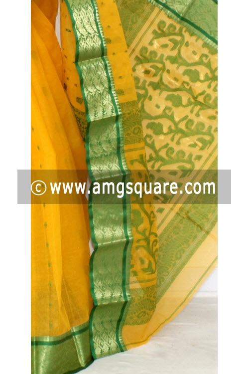 Yellow Green Handwoven Bengal Tant Cotton Saree (Without Blouse) Zari Border 14099