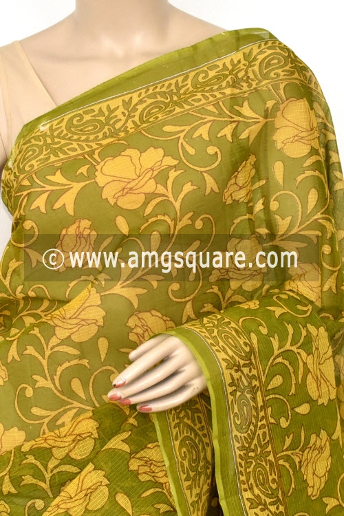 Menhdi Green Premium JP Kota Doria Printed Cotton Saree (without Blouse) 15414