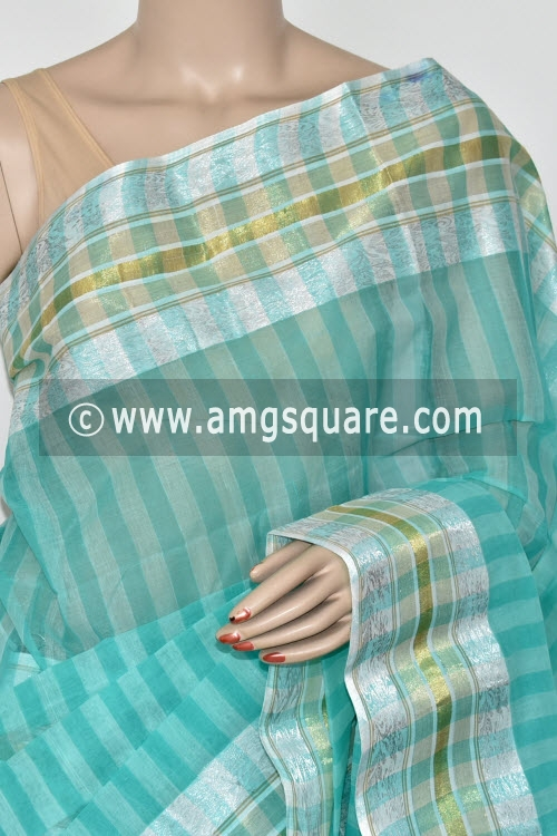 Light Sea Green Handwoven Bengal Tant Cotton Saree (Without Blouse) Silver Zari 14259