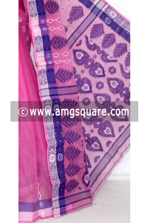 Pink Handwoven Bengali Tant Cotton Saree (Without Blouse) 14062