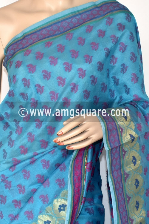 Pherozi Blue Handloom Banarasi Semi Cotton Saree (with Blouse) Allover Resham Weaving 16218