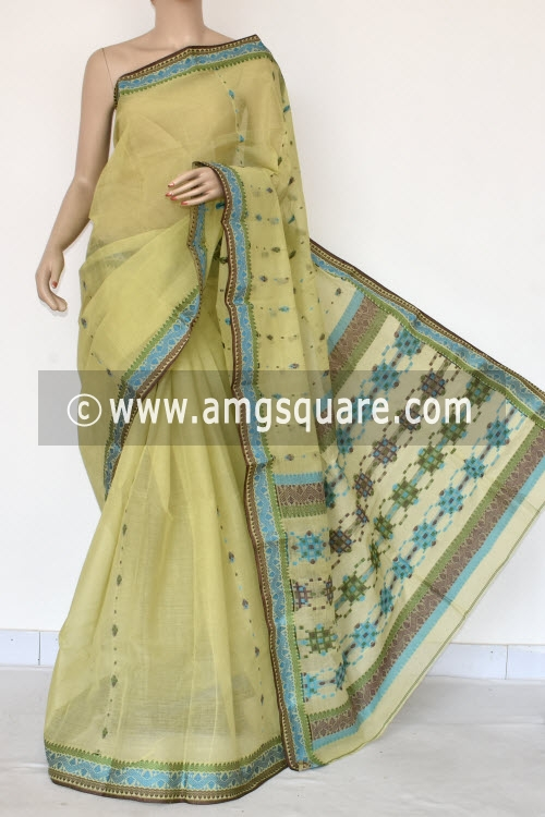 Greenish Yellow Handwoven Bengal Tant Cotton Saree (Without Blouse) Resham Border 17118
